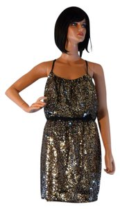 Adrianna Papell Halter Gold Sequin Dress