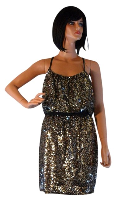 Adrianna Papell Halter Gold Sequin Dress Image 0