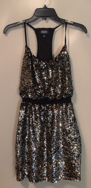 Adrianna Papell Halter Gold Sequin Dress Image 2