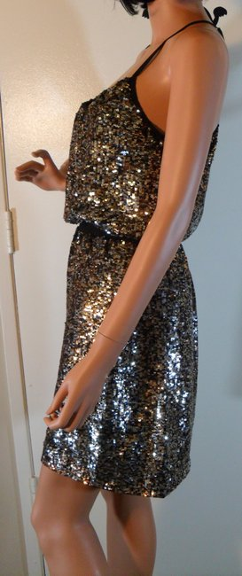 Adrianna Papell Halter Gold Sequin Dress Image 4