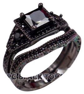 Other New Black Sapphire & CZ 2pc Wedding Ring Set 5, 7, 8, 9