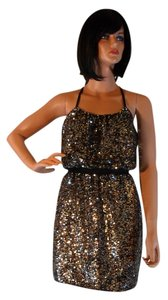 Adrianna Papell Evening Full Bead Halter Sequin Gold New Nwt Sz 2 Dress