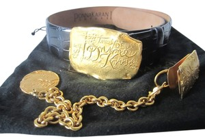 Donna Karan Donna Karan Alligator Belt With Gold Plated Buckle And Accents