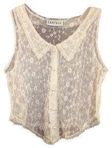 Rampage Vintage 1990 Lace Sheer Top Ivory, Off White