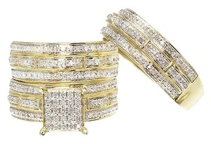 Other 10k Yellow Gold Mens Ladies Round Diamond Bridal Wedding Trio Ring Set 0.75 Ct