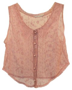 Rampage Vintage Sheer Lace 1990 Top Pink, Dusty Rose