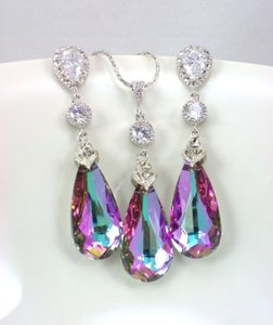 Sale Purple Swarovski Crystal Pink Vitrail Light Sterling Post Earrings & Necklace Hypoallergenic Bridal Set Jewelry