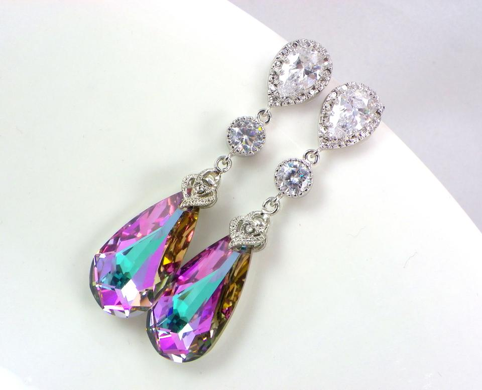 Purple Sale Swarovski Crystal Pink Vitrail Light Sterling Post Earrings  Necklace Hypoallergenic Jewelry Set