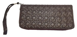 Other Faux Leather Wristlet Pocketbook ; Woven Wicker Embossed[ Roxanne Anjou Closet ]