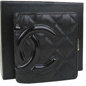 Chanel Chanel Cambon Black Leather Patent Ligne Compact Bifold Wallet.
