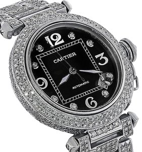 Cartier Pasha Automatic Midsize Diamond Stainless Steel Watch Black Dial 2324