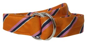 J.Crew J. Crew Orange White & Blue Soft SIlver-tone Buckle Belt