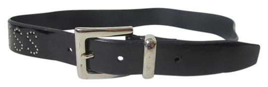 Other Black Leather Belt with Silvertone Hardware Buckle Medium