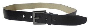 Black Men's Belt with Silver-tone Hardware Size Medium
