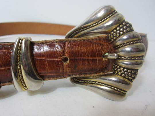 Onyx Nite ONYX Brown Stamped Leather Belt with Silver-tone Hardware Size 30