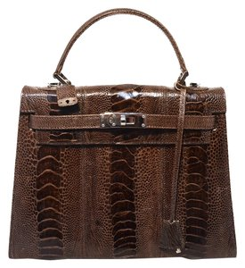 e59ef16518 Fendi Peekaboo Brown/Tan Stripe Eel Skin Leather Shoulder Bag - Tradesy
