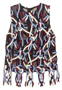 Christopher Kane Embroidered Handsewn Mesh Top Black, Blue, Cream, Burgundy