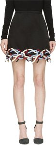 Christopher Kane Embroidered Embellished Rope Skirt Black Cream Burgundy Blue