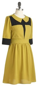 Modcloth short dress Yellow Peter Pan Collar A-line Color-blocking Fall 3/4 Sleeves on Tradesy