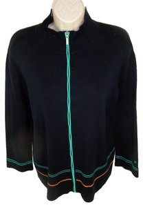Escada Escada Sport Knit Jacket Activewear L Black Turquoise Orange Trim Zip Sharp