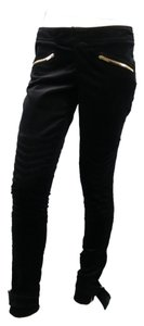 Gucci Velvet Biker Moto Motorcycle Low Rise Skinny Pants Black