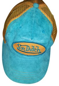 Von Dutch Turquoise Blue Suede Von Dutch Trucker Hat