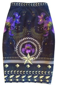 Givenchy Black Gold Pencil Skirt Black, Gold, Purple