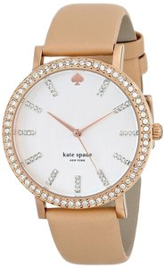 Kate Spade Kate Spade Beige Leather Silver Tone Dial Rose Gold Stainless Steel Glitz Watch 1YRU0446