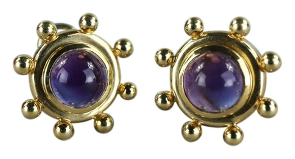 Tiffany Co Paloma Pico 18k Yellow Gold Amethyst Clip Earrings