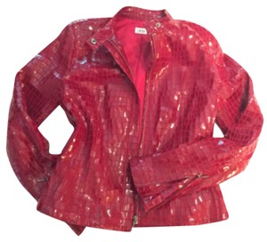 Cache Crimson red Leather Jacket