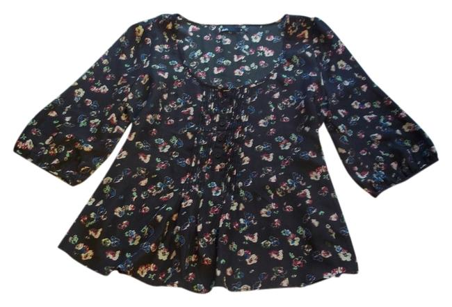 Item - Dark Blue with Floral Print Peasant Button Ruffle Blouse Size 14 (L)