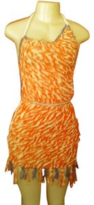 Other short dress orange white on Tradesy