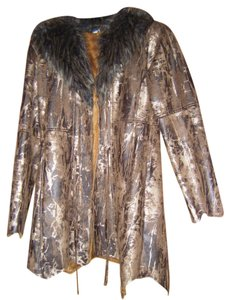 Brown and Gold Faux Fur & leather Coat Fur Coat