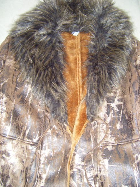 Brown and Gold Faux Fur and leather Coat Fur Coat