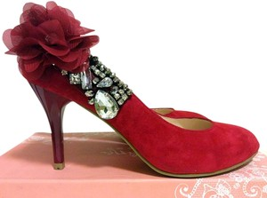 Kadina Suede Rhinestone Comfortable Wedding Red Pumps