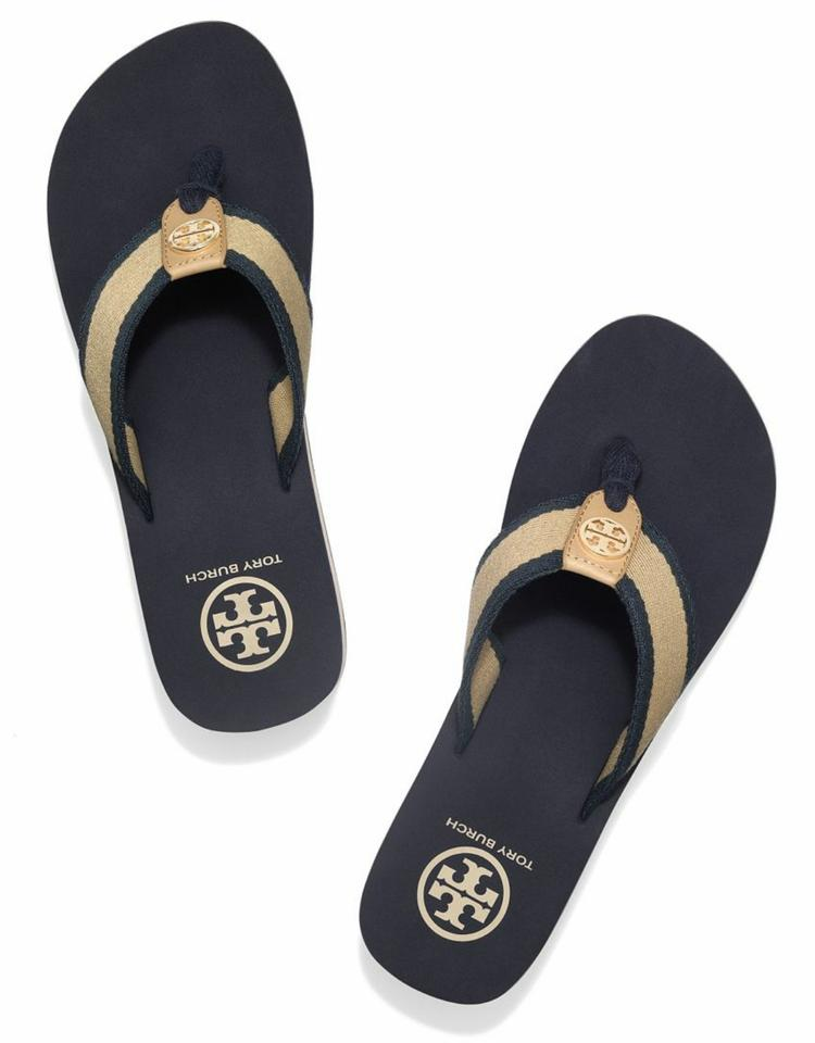 cdc1cb89f Tory Burch Blue and Cream Wedge Flip Flop Sandals. Size  US 6 Regular (M ...