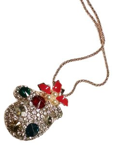 Betsey Johnson Betsey Johnson Christmas Mitten Necklace Gold Tone Long J1437