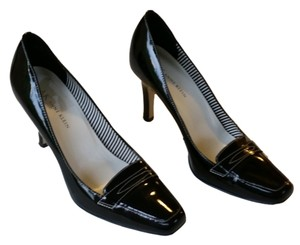 Anne Klein Leather Work Dressy Heels Black Pumps