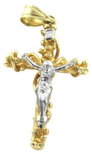 14KT SOLID WHITE YELLOW GOLD 3.2 GRAMS CROSS CRUCIFIX JESUS CHRIST CHARM PENDANT