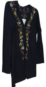 Johnny Was long black cardigan with embroidered Cardigan