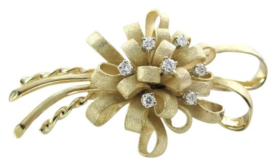 Other 14K YELLOW GOLD DIAMOND BROOCH PIN LOOPED BOW RJ SIGNATURE ANTIQUE VINTAGE