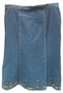 City Girl by Nancy Bolen Denim Jeans Skirt BLUE