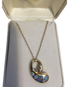 Yellow gold and opal necklace 14 Kt Gold Opal And Diamond Necklace