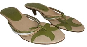 Coach Greens/Tans/white Sandals
