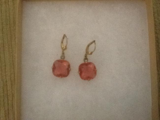 Item - Coral with Gold Setting Earrings
