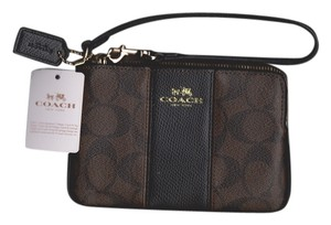 Coach Coach Signature Brown/ Black Coated Canvas/ Leather iPhone Wristlet