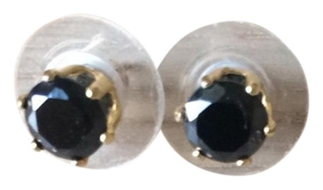Item - Gold and Black Plated Stone Studs Earrings