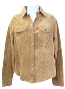 INC International Concepts Suede Leather Top BROWN