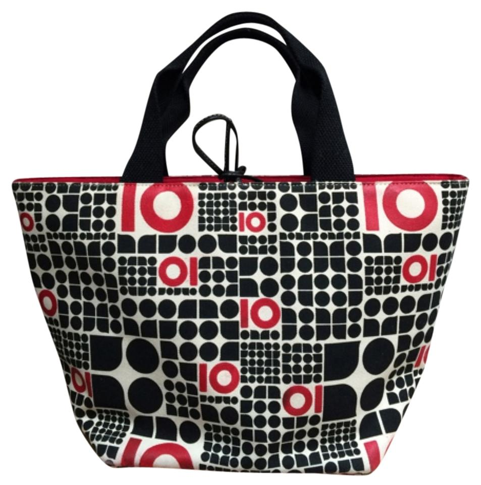 2c5775647fa0 Kate Spade Decade Noel Black White Red Canvas Tote - Tradesy