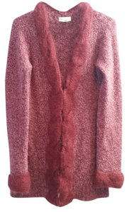 Anthropologie Wool Mohair Burgundy Sweater Cardigan